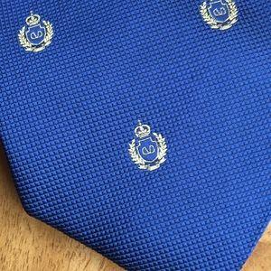 Valentino Royal Blue silk tie with crown logo